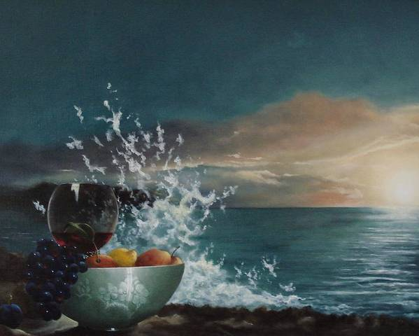 Seascape Poster featuring the painting Wave by Tjerk Reijinga