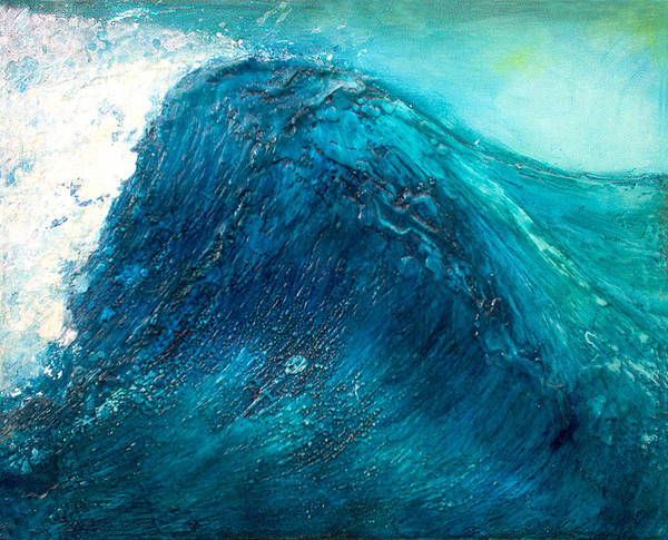Wave Blue Wave Sea Water Seascape Rising Wave Mixed Media Encaustic Painting Original Canvas Wax Oil Poster featuring the painting wave X by Martine Letoile