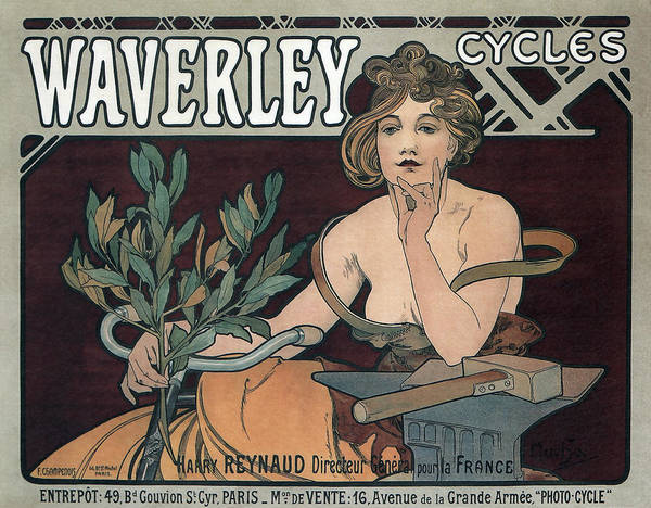 vintage Ads Poster featuring the photograph Waverley Cycles - Paris 1898 by Daniel Hagerman