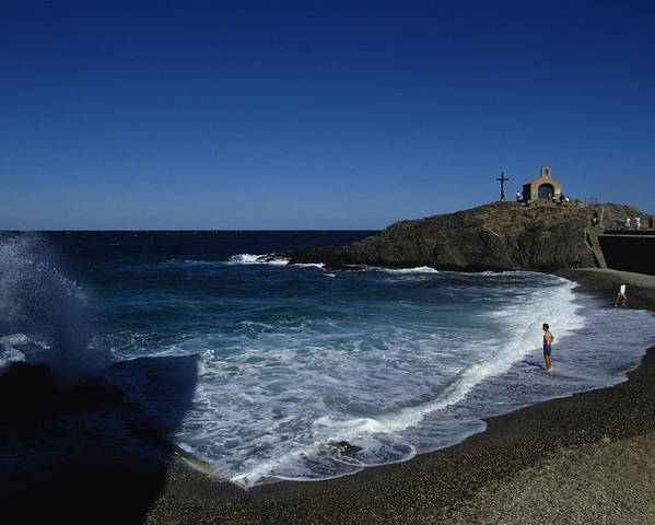 Collioure Poster featuring the photograph Waves Crash Onto The Beach by Stacy Gold