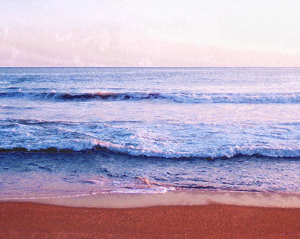 Sunset Poster featuring the photograph Waves On The Beach 2 Aedb by Lyle Crump