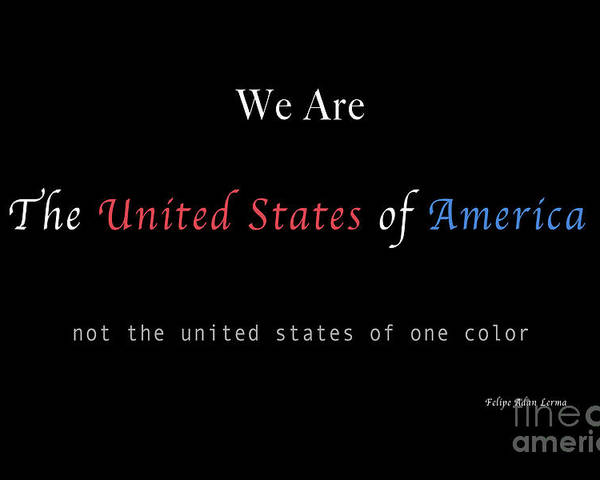 Patriotic Poster featuring the photograph We Are the United States of America by Felipe Adan Lerma