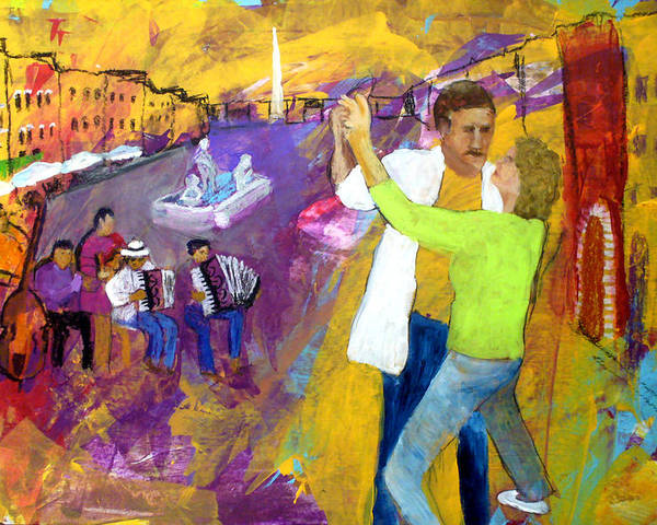 Tango Poster featuring the painting We Tangoed On The Piazza Navono by Keith Thue