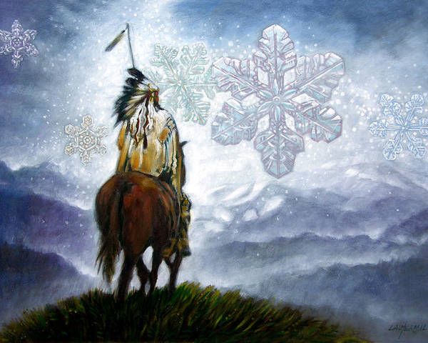 American Indian Poster featuring the painting We Vanish Like The Snow Flake by John Lautermilch