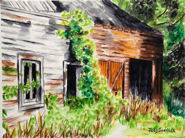 Weathered Barn Poster featuring the painting Weathered Barn by Judy Swerlick