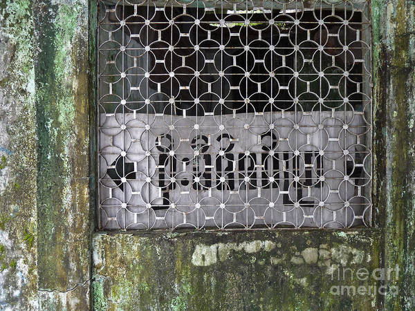 Asia Poster featuring the photograph Weathered Green Concrete Doorway With Grille And Obscured Sign P by Jason Rosette