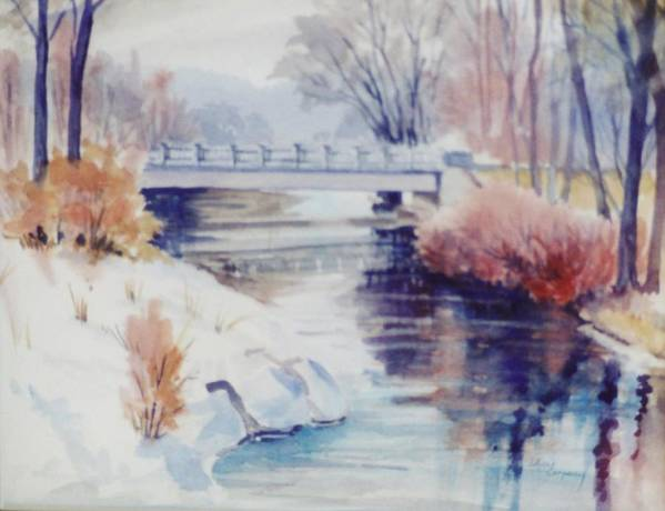 River Poster featuring the painting Weber River Bridge by JoAnne Corpany