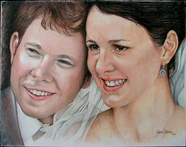 Portraits Poster featuring the painting Wedding Portrait by Joan Garcia