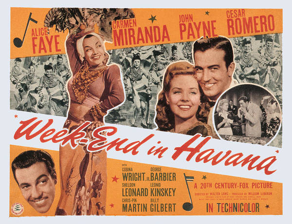 1940s Movies Poster featuring the photograph Week-end In Havana, Cesar Romero by Everett