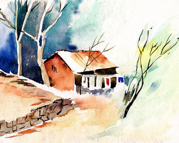 Nature Poster featuring the painting Weekend House by Anil Nene