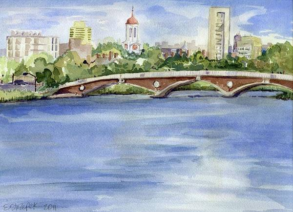 Blue Poster featuring the painting Weeks Footbridge Over The Charles River by Erica Dale Strzepek