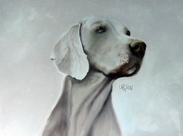 Poster featuring the painting Weimaraner by Dick Larsen