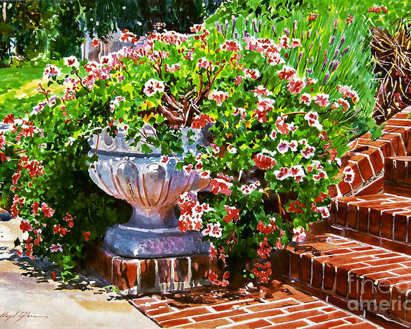 Watercolor Poster featuring the painting Welcome Flower Urn Steps by David Lloyd Glover