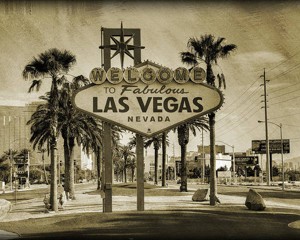 Las Poster featuring the photograph Welcome To Las Vegas Series Sepia Grunge by Ricky Barnard