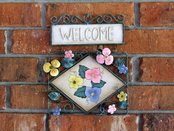 Welcome Sign Signage Ornament Poster featuring the photograph Welcome To Our Home by Linda Ebarb