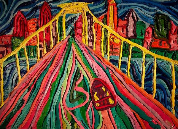 Cityscape Walt Whitman Bridge Poster featuring the painting Welcome To Philadelphia by Ira Stark