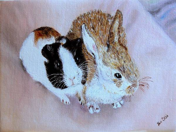 Pets Poster featuring the painting Wendy And Bobby by Helmut Rottler