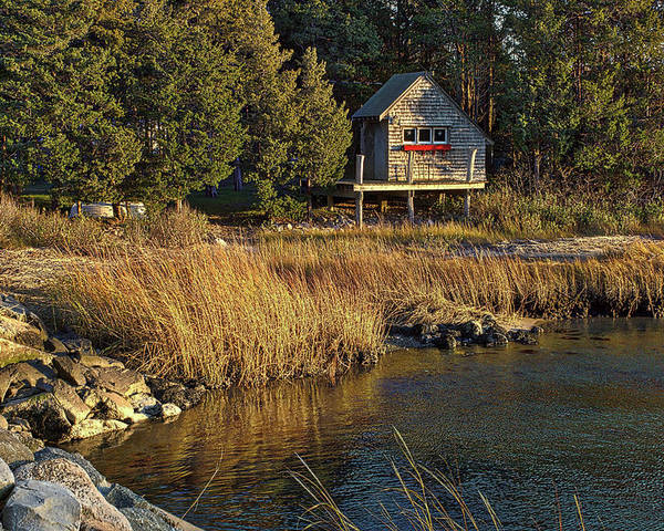 Cape Cod Poster featuring the photograph West Falmouth Boathouse by Frank Fernino