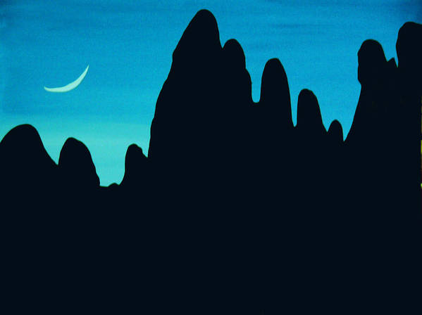 24 Inch Night Landscape Poster featuring the painting West by Linda Powell
