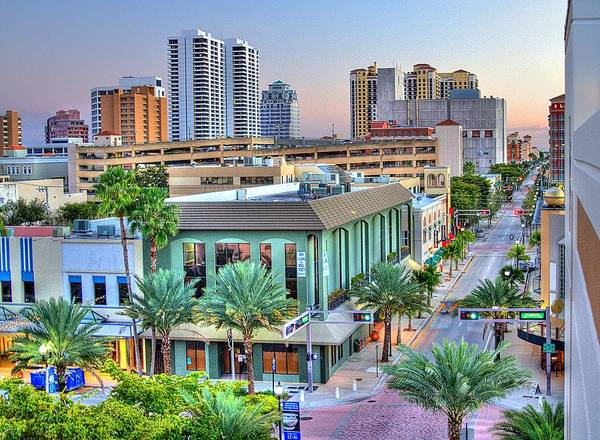 Florida Poster featuring the photograph West Palm At Twilight by Debra and Dave Vanderlaan