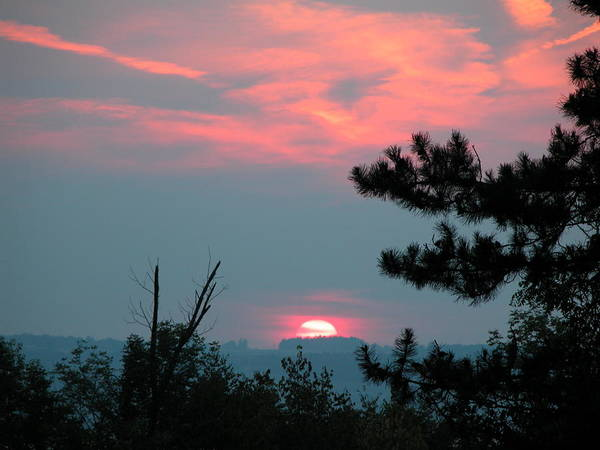 Sunset Poster featuring the photograph Western Sunset Sun On The Horizon by Joe Lee