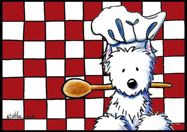 Dog Poster featuring the mixed media Westie Chef by Kim Niles