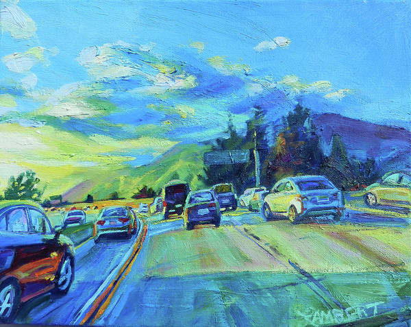 Freeway Poster featuring the painting Westward by Bonnie Lambert