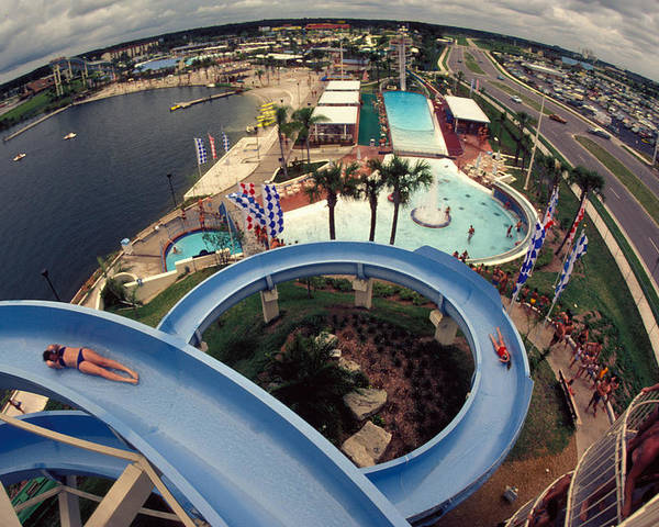 Waterslide Poster featuring the photograph Wet And Wild by Carl Purcell