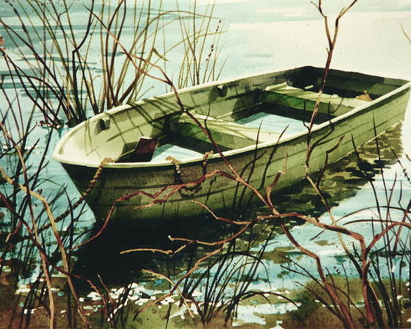 Rowboat In Water Poster featuring the painting Wet 'n Waiting by Art Scholz