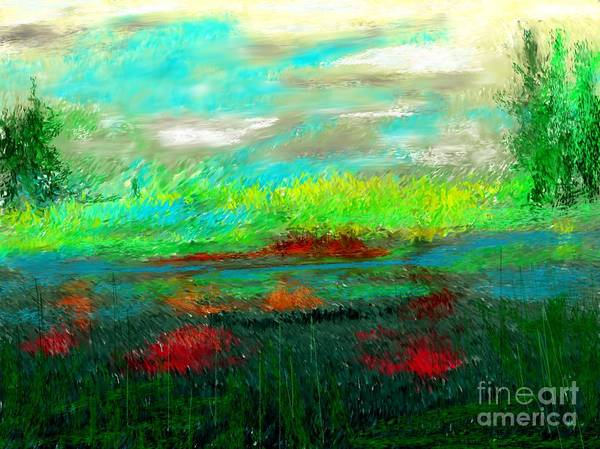 Nature Poster featuring the digital art Wetlands by David Lane