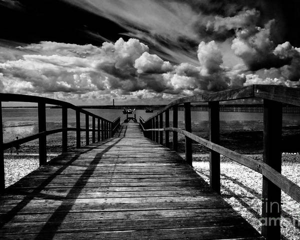 Southend On Sea Wharf Clouds Beach Sand Poster featuring the photograph Wharf At Southend On Sea by Sheila Smart Fine Art Photography