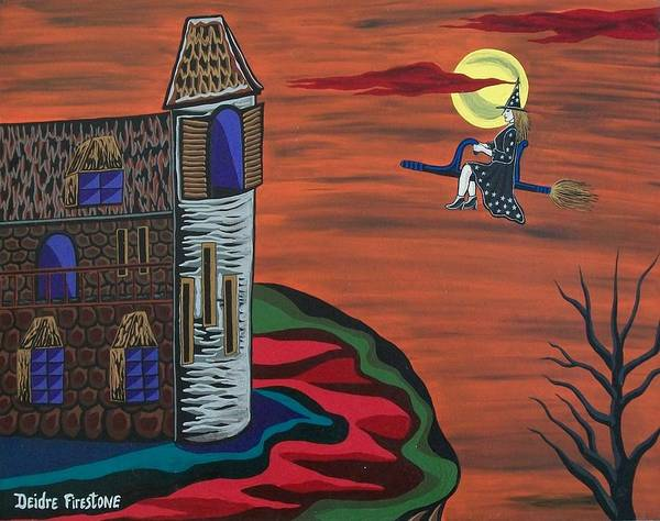 Witch On Broom Poster featuring the painting What A Wonderful Night Out by Deidre Firestone