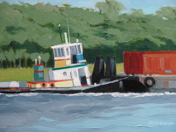 Work Boat Tug Waterscape Poster featuring the painting When Push Comes To Shove by Robert Rohrich