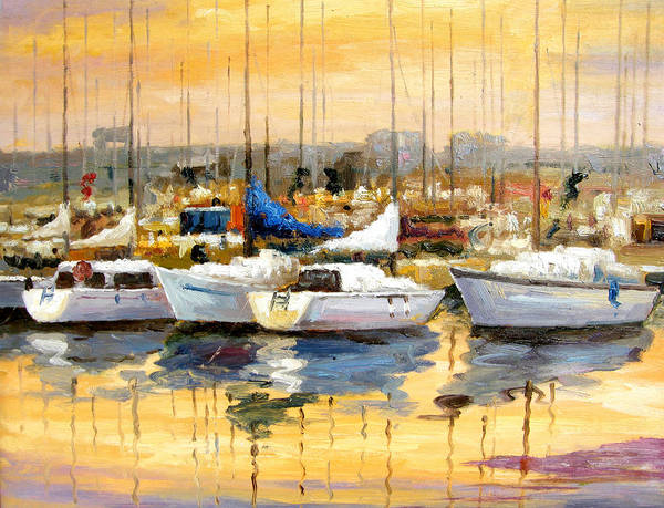 Seascape Poster featuring the painting Where Did I Park My Boat by Imagine Art Works Studio