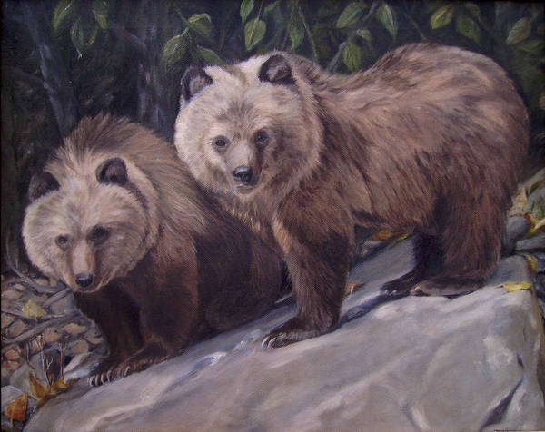 Grizzly Cubs Poster featuring the painting Where s Momma by Tahirih Goffic