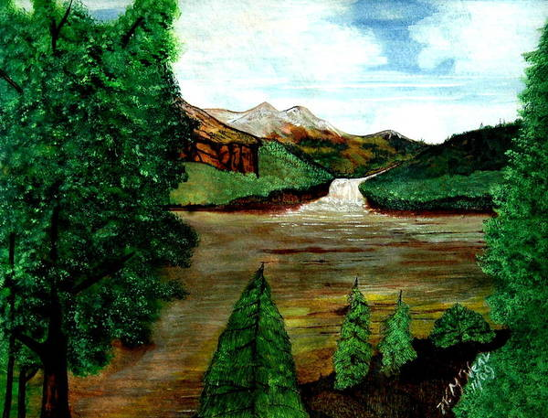 Water Poster featuring the painting Where Water Meets by Willie McNeal