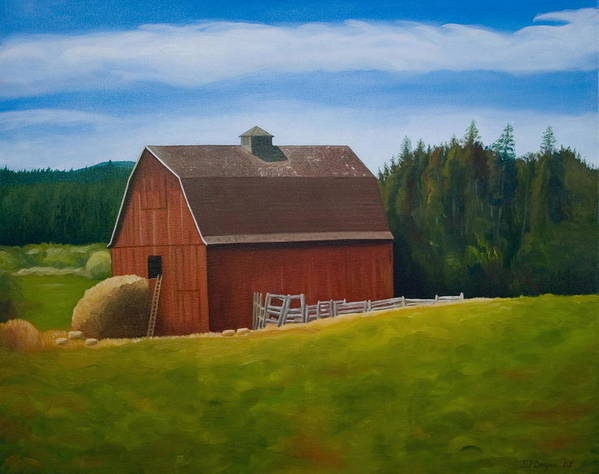 Landscape Poster featuring the painting Whidbey Island Barn by Stephen Degan