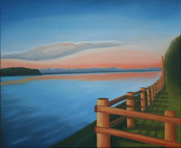 Seascape Poster featuring the painting Whidbey Island Sunset by Stephen Degan