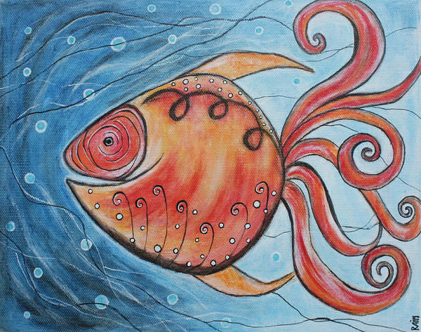 Fish Paintings Poster featuring the painting Whimpsy Fish 2 by Rain Ririn