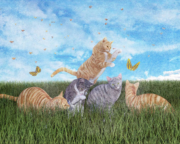 Fantasy Poster featuring the digital art Whimsical Cats by Betsy Knapp
