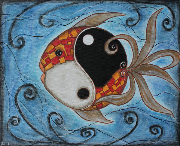 Fish Paintings Poster featuring the painting Whimsy Fish 3 Yin And Yang by Rain Ririn