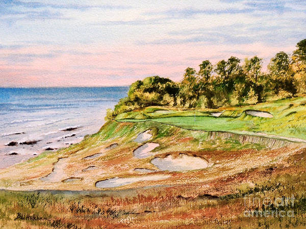 Golf Poster featuring the painting Whistling Straits Golf Course 17th Hole by Bill Holkham