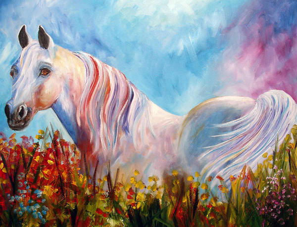 White Arabian Poster featuring the painting White Arabian Horse by Mary Jo Zorad