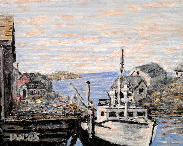 White Poster featuring the painting White Boat In Peggys Cove Nova Scotia by Ian MacDonald