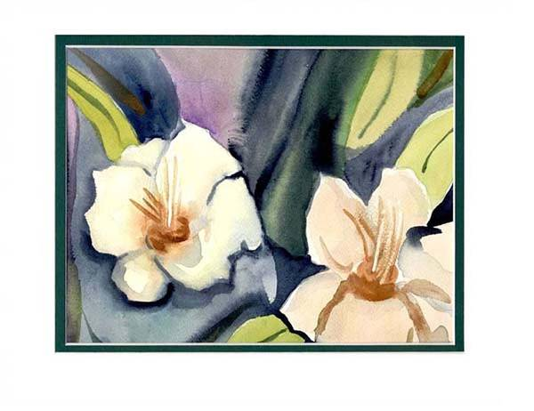 White Flowers Poster featuring the painting White Flowers by Janet Doggett