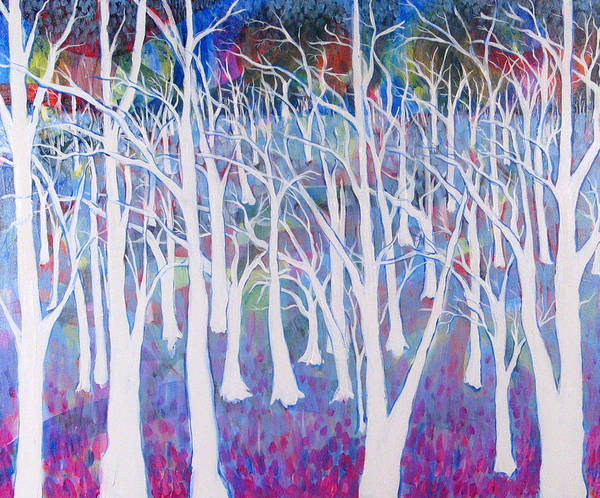 White Poster featuring the painting White Forest by Rollin Kocsis