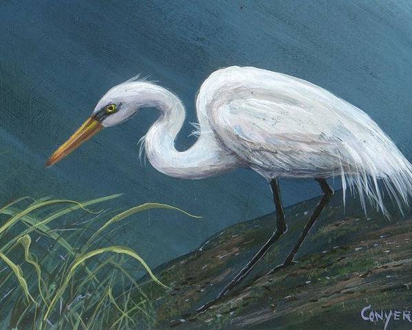 Heron Poster featuring the painting White Heron by Peggy Conyers