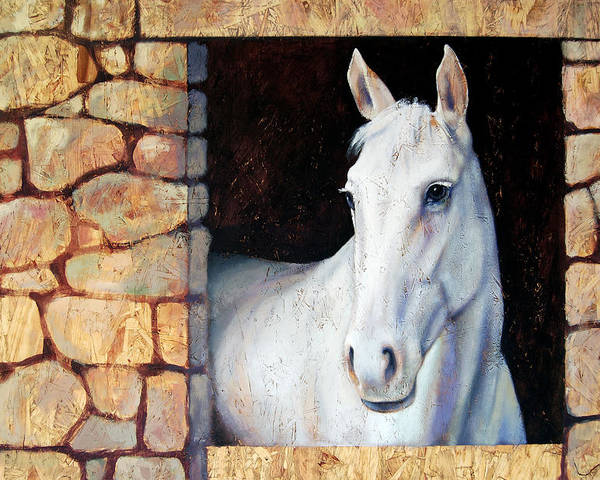 Horse Poster featuring the painting White Horse1 by Farhan Abouassali
