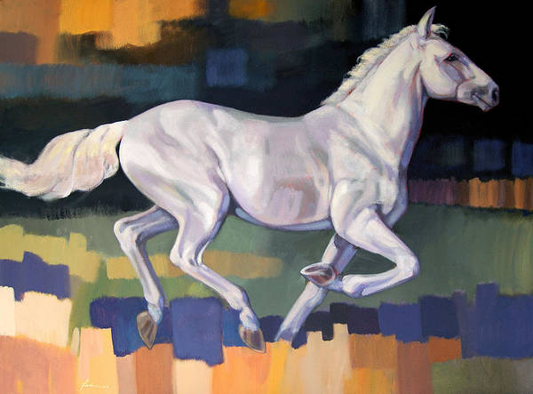 Horse Poster featuring the painting White Horse2 by Farhan Abouassali