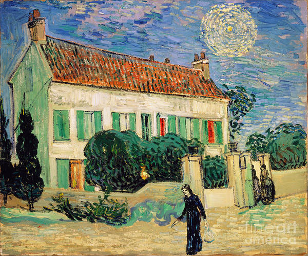 White Poster featuring the painting White House At Night by Vincent Van Gogh